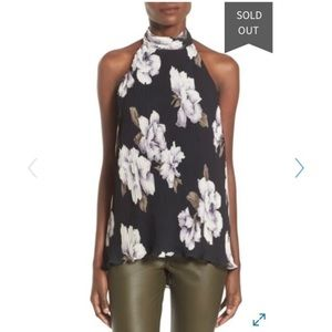 ASTR  black floral pleated halter backless top